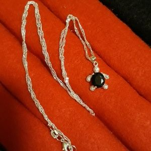 Jewelry - Sterling Silver Onyx Turtle
